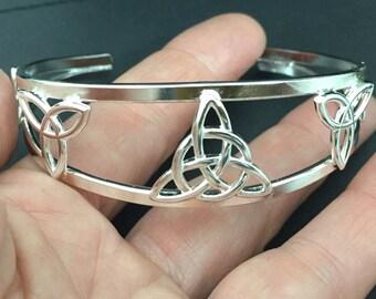 Celtic Bracelet Cuff Trinity knots, Celtic Trinity Knot Designs, Sterling Silver Celtic Cuffs, Silver Cuff Bracelet, Sterling Bracelet Cuffs