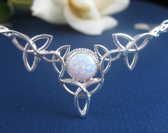Irish Tiaras, Celtic Wedding Circlet Headpiece, Victorian Inspired Tiaras, Diadems, BubbleGum Imitation Opal Gemstone, Sterling Silver 925