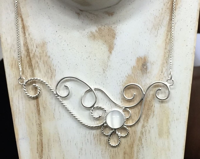 Elizabethian Moonstone Scrolling Necklace in Sterling Silver, Elvish Inspired Necklaces. Statement Jewelry, Gifts For Her