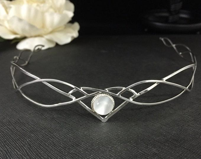 Elvish Wedding Gemstone Tiara in Sterling Silver, Artisan Bridal Circlet, Faery Hair Jewelry, Headpieces