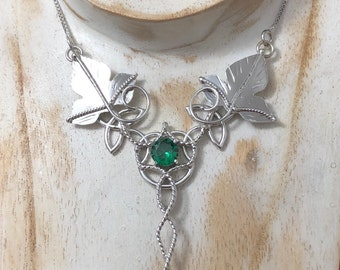 Celtic Knot Leaf Gem Necklace in Sterling Silver, Statement Renaissance Ivy Leaf Necklace, Irish Emerald Necklace Sterling Silver OOAK