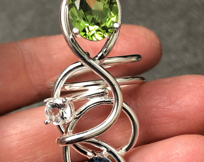 Long Finger Rings, Peridot White Topaz Blue Zircon Sterling Silver Rings, Gifts For Her, Abstract Boho Chic Rings, Gifts For Her