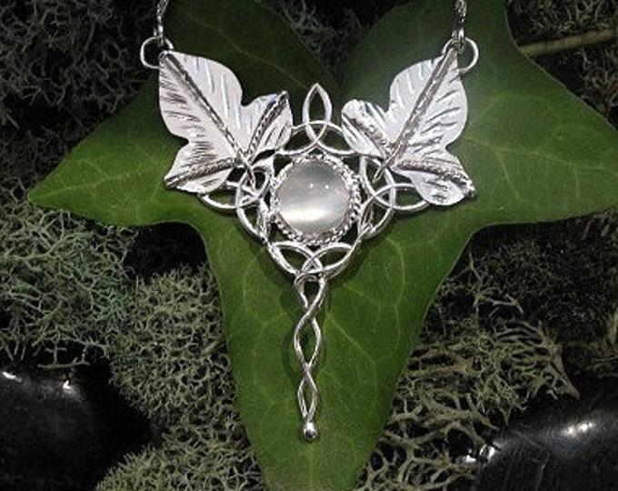 Bohemian Fae Woodland Necklaces, Elvish Celtic Leaf Pendant with 16 Inch Box Chain and Moonstone .925