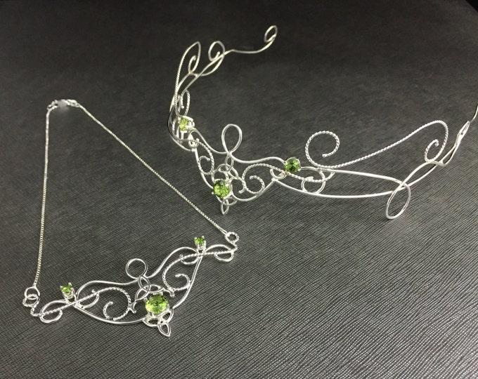 Elvish Wedding Circlet and Necklace Set, Trinity Knot Celtic Circlet Faceted Peridot, Sterling Silver Handmade Boho Victorian Bridal Set
