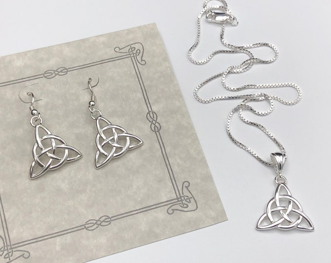 Celtic Knot Necklace and Earrings Set Silver, Gifts For Her, Charmed Knot Necklace,  Irish Necklaces, Eternity Symbolic Celtic Jewelry