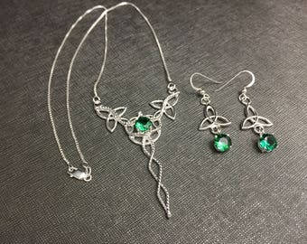 Emerald Celtic Necklace and Earring Set, Sterling Silver Victorian Celtic Bridal Accessories Jewelry, Celtic Emerald Necklace and Earrings