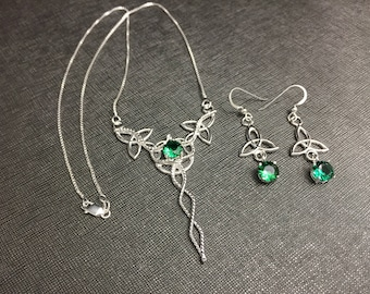 Emerald Celtic Knot Necklace and Earring Set in Sterling Silver, Irish Bridal Accessories, Emerald Necklace and Earrings Jewelry Sets