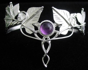 Woodland Amethyst Bracelet Cuff in Sterling Silver, Celtic Leaf Cuff Bracelet, OOAK Fae Elvish Woodland Bracelet Cuffs, Gifts For Her
