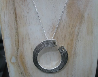 Sterling Silver Enso Pendant with 18 inch Box Chain, Handmade Enso Necklace, Eastern Zen Jewelry Designs, OOAK Enso Eastern Jewelry