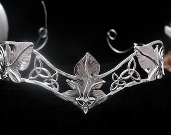 Elvish Celtic Woodland Leaves Diadem, Woodland Rustic Leaf Wedding Circlet, Handmade, Sterling Silver,  Bridal Circlet Headpiece