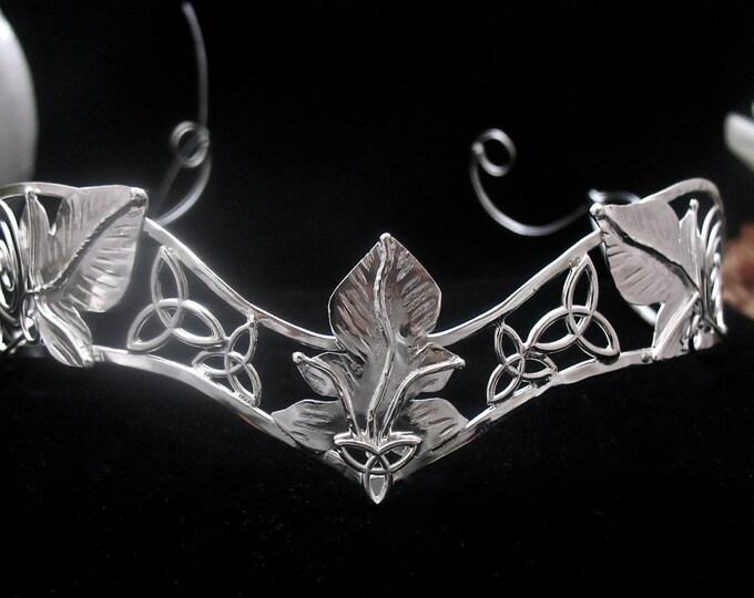 Celtic Woodland Bridal Circlet, Alternative Bridal Crowns, Sterling Silver Leaf Wedding Circlet, Handmade OOAK Wedding Circlet, Irish Diadem