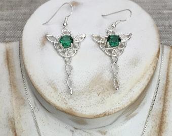 Celtic Dangle Gemstone Earrings In Sterling Silver, Celtic Drop Earrings, Dangle Drop Artisan Earrings, Celtic Wedding, Celtic Jewelry