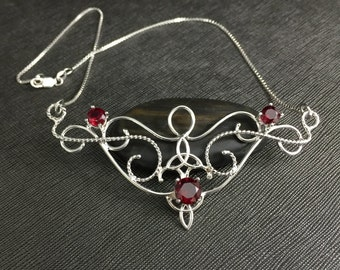 Celtic Victorian Amethyst Garnet Sapphire Necklace in Sterling Silver, Renaissance Necklaces, Statement Jewelry, Gifts For Her, Anniversary