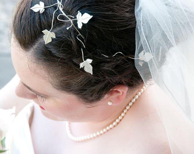 Woodland Bridal Hairvines, Ivy Leaves Sterling Silver Bridal Hair Vine, Handmade Bridal Hair Vine, Hair Wrap, Wedding Hair Vines
