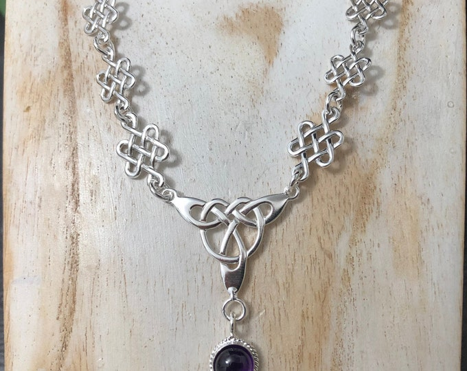 Celtic Knot Amethyst Necklace Sterling Silver With 16 Inch Box Chain Attached, Irish Bridal Necklace with 8mm Gemstone, Handmade 925, OOAK