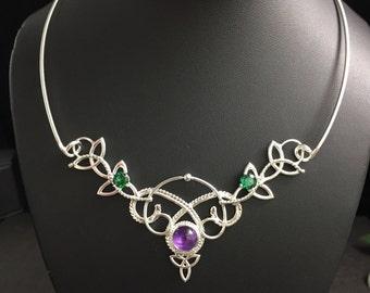 Renaissance Necklet, Victorian Neckpiece Choker Jewelry , Celtic Neck Torc with Gems Necklace, Victorian Chokers, OOAK