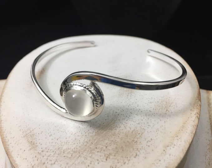 Sterling Silver Swirl Bracelet Cuff With Gemstone Cabochon, Simple Cuff, Handmade Cuff Bangle, Artisan, Simple Bracelet Cuff, Bracelets