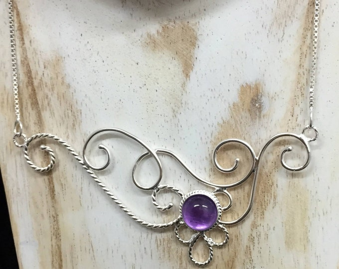 Victorian Bohemian Amethyst Moonstone Necklace in Sterling Silver, Elvish Inspired Necklaces. Statement Jewelry, Gifts For Her