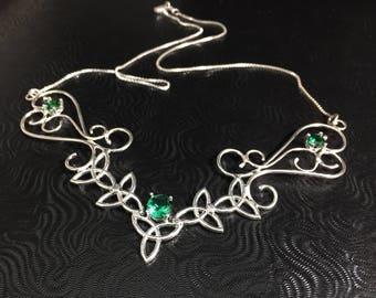Celtic Knot Statement Necklace, Wide Bohemian Style Choker, Art Nouveau Large Necklace, Fantasy Handmade Necklace, Renaissance Wedding