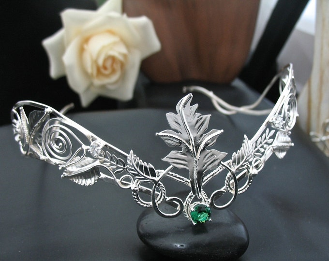 Circlets, Woodland Leaves Gemstone Tiara in Sterling Silver, Leaf Bridal Circlet, Artisan Wedding Crown, Gifts For Her, Bridal Accessories