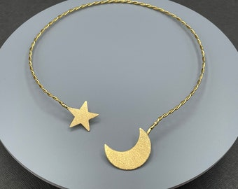 Crescent Moon and Star Celestial Necklet Torc in Sterling Silver or Gold-Plated, Moon Neck Ring, Artisan Choker Style Necklace