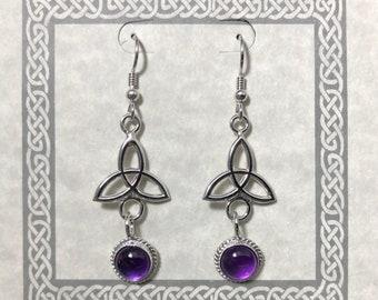 Celtic Amethyst Drop Earrings in Sterling Silver, Irish Charmed Dangle Earrings, Wedding Earrings, Simple Trinity Knot Dangle Earrings