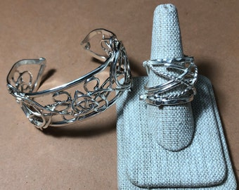 Art Nouveau Artisan Bracelet Cuff and Ring in Sterling Silver, Celtic Jewelry Set, Bohemian Cuff Bracelet and Ring, Gifts for Her