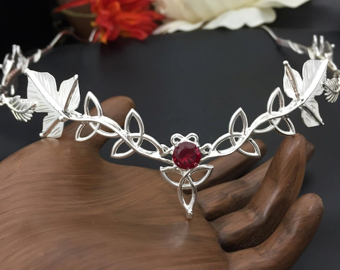 Elvish Celtic Wedding Tiara in Sterling Silver with Gemstone, Woodland Bridal Tiara, Celtic Weddings, Trinity Knot Celtic Diadems
