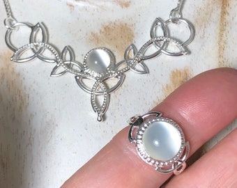 Celtic Ring and Necklace Matching Set with Moonstones in Sterling Silver, Artisan Irish Ring and Necklace Combo with Gemstone Choice, 925