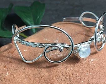 Rainbow Moonstone Bohemian Sterling Bracelet Cuff, Renaissance Bracelets, Chunky Cuff Bracelet, Sterling Cuff OOAK Handmade, Size 6