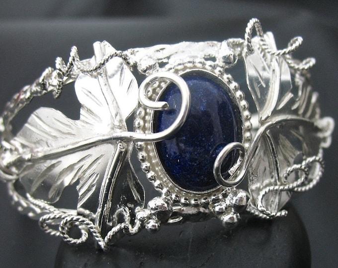 Woodland Leaf Gemstone Bracelet Cuff in Sterling Silver, Handmade Cuff Bracelet, OOAK Handmade Cuff Bracelet, Artisan, Sterling Silver