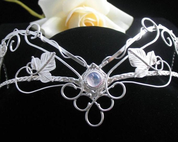 Woodland Elvish Moonstone Crown in Sterling Silver, Fae Wedding Headpiece, Wedding Crowns, Handmade Elvish Tiara, Bohemian Bride