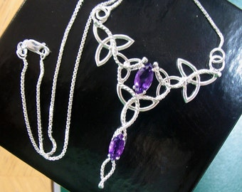 Celtic Trinity Knot Pendant, Sterling Silver, Marquise Amethysts, Celtic Wedding Accessory, 16 Inch Box Chain, Handmade Jewelry, OOAK