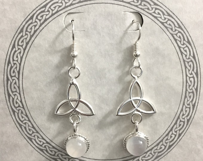 Celtic Dangle Drop Earrings in Sterling Silver with 8mm Moonstones, Handmade Dangle Drop Earrings with Gems, Charmed Knot Trinity Jewelry