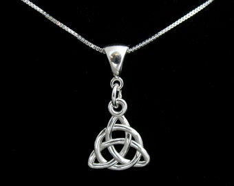 Sterling Silver Celtic Knot Charmed Necklace with 18 inch Box Chain, Celtic Victorian Sterling Silver Necklace,