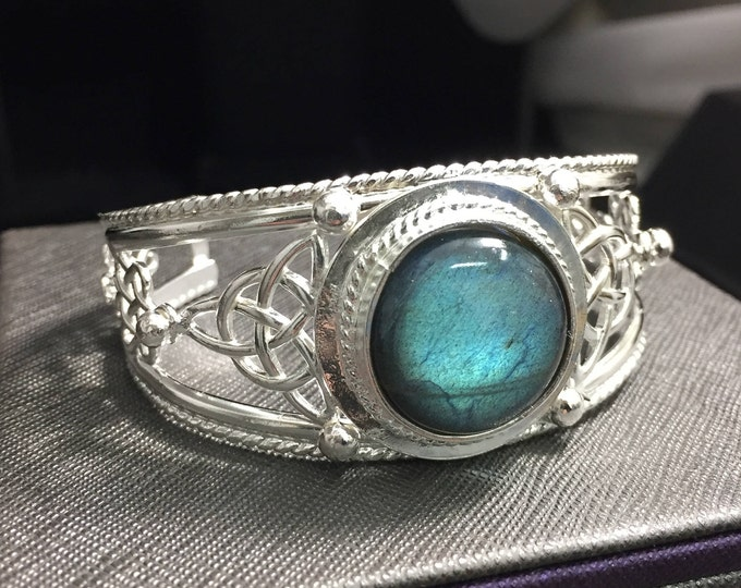 Wide Celtic Irish Bracelet Cuff, Heavy Handmade  Sterling Silver Bracelet, Large Bracelet Cuff, Celtic Knot Bracelet, Handmade OOAK Cuff