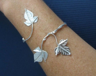 Ivy Leaf Wrap Bracelet Cuff in Sterling Silver with 3 Leaves, Woodland Bracelet Cuff, Sterling Silver Handmade Bracelet with Leaves