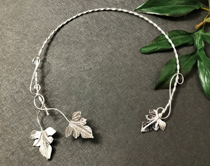 Woodland Fae Leaves Sterling Silver Neck Torc, OOAK Rustic Artisan Handmade Bridal Wedding Torc, Nature Inspired Torc, Handmade, OOAK