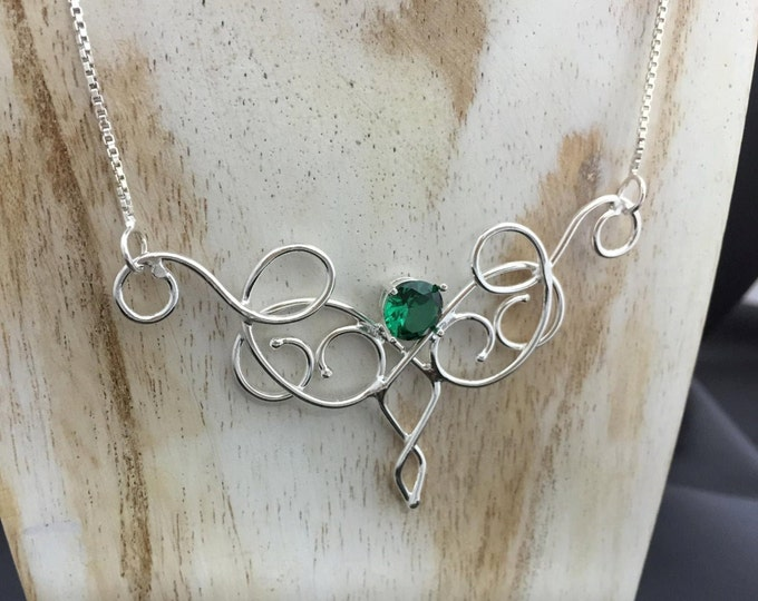 Bohemian Emerald Necklace Sterling Silver, Elvish Magical Fantasy Necklaces, Gifts For Her, Artisan Handmade