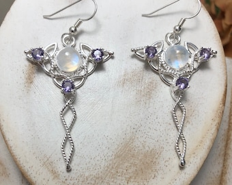 Celtic Knot Earrings with 8mm Amethyst Gemstone Lab Tanzanite, Irish Earrings, Irish Weddings, Celtic Knot Symbol Earrings