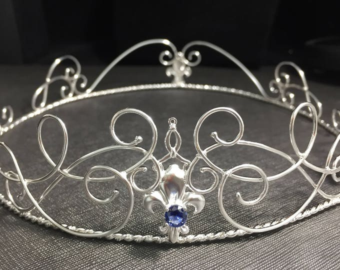 Fleur De Lis Circlets Sterling Silver Handmade, Fleur de lis Wedding Tiara Bridal Circlet, Fleur de lis Bridal Tiara Elf Crown