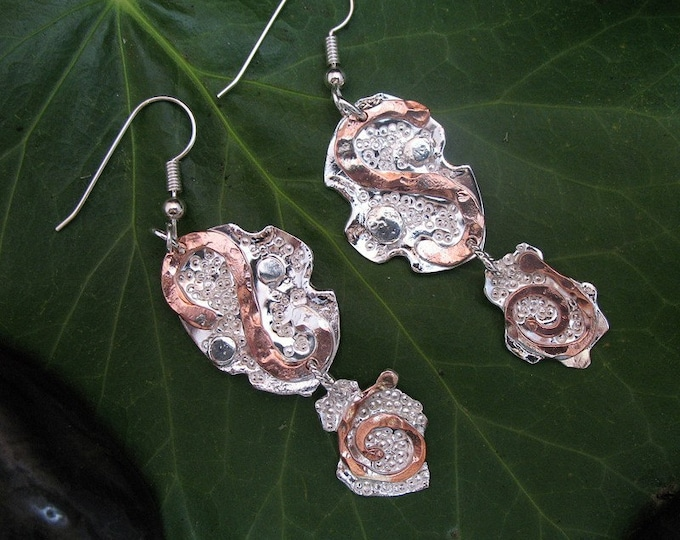 Sterling Silver and Copper Deco Style Earrings - Hammered  and Pave Texture