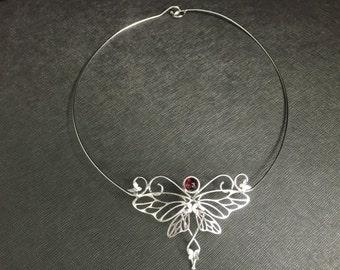 Butterfly Bohemian Sterling Silver Gemstone Neck Rings, Mariposa Neck Ring, Butterfly Bohemian Neck Torc Jewelry