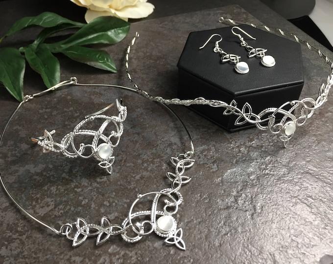 Celtic Full Bridal Set, Irish Weddings, Trinity Knot Circlet Tiara, Neck Ring, Earrings Set, Genuine MOONSTONE Wedding Set