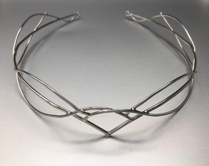 Circlets, Elvish Renaissance Tiara in Sterling Silver, Renaissance Circlet, Celtic Wedding Circlet Headpiece