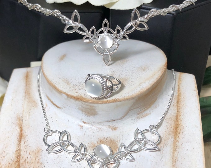 Celtic Knot Jewelry Set Including Moonstone Tiara, Necklace and Ring in Sterling Silver, Handmade Irish Jewelry Sets, Gifts For Her