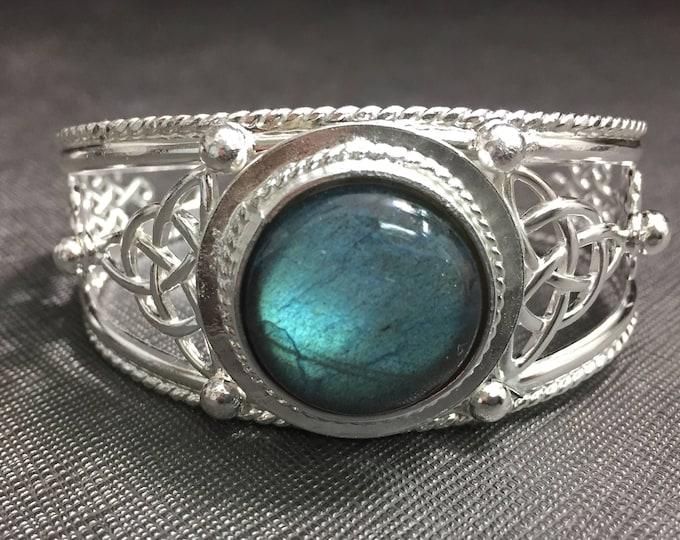 Labradorite Celtic Knot Bracelet Cuff, Artisan Statement Cuff Bracelets, Large Bracelet Cuff, Irish Bracelets, OOAK Cuff