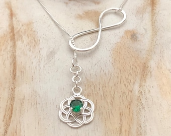 Celtic Knot 6mm Emerald Lariat Necklace, Long Lariat Necklace in Sterling Silver with 18 Inch Box Chain, Gifts For Her, Irish Jewelry