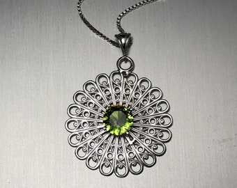 Filigree Emerald Peridot Amethyst Boho Statement Necklace, Gifts For Her, Aztec Designs, Symbolic Jewelry Designs