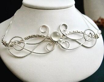 Bohemian Elvish Moonstone Necklace in Sterling Silver, Artisan Art Nouveau Fae Necklace, Victorian Style Renaissance Jewelry .925